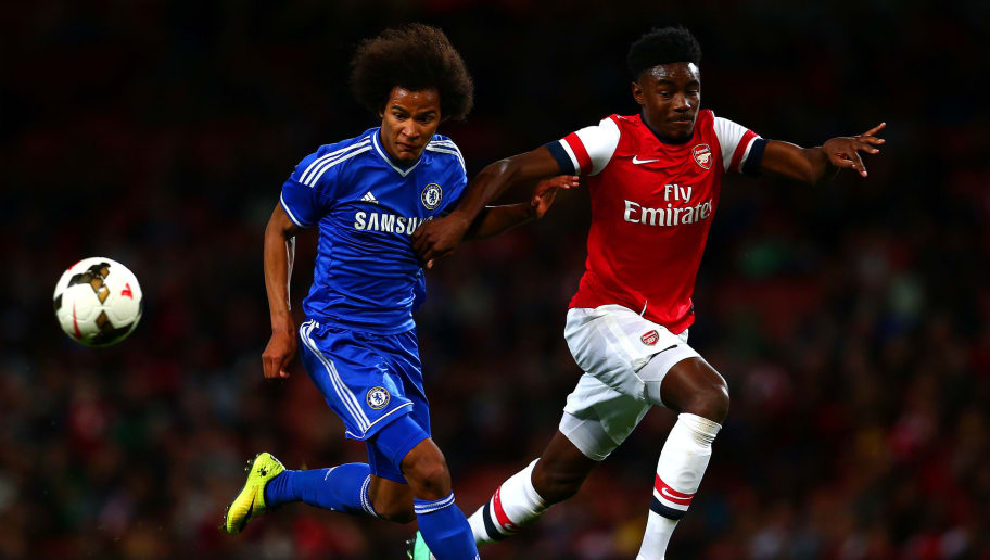 LONDON, ENGLAND - APRIL 17:  Stefan O'Connor of Arsenal in action against Isaiah Brown of Chelsea during the FA Youth Cup Semi Final second leg match between Arsenal and Chelsea at Emirates Stadium on April 17, 2014 in London, England.  (Photo by Dan Istitene/Getty Images)