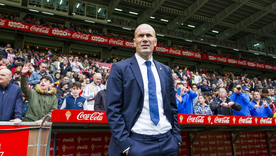 GIJON, SPAIN - APRIL 15:  Head coach Zinedine Zidane of Real Madrid looks on prior to the start the La Liga match between Real Sporting de Gijon and Real Madrid at Estadio El Molinon on April 15, 2017 in Gijon, Spain.  (Photo by Juan Manuel Serrano Arce/Getty Images)