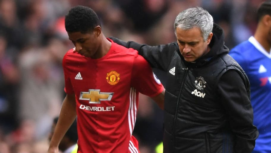 MANCHESTER, ENGLAND - APRIL 16:  Marcus Rashford of Manchester United and Jose Mourinho, Manager of Manchester United embrace during the Premier League match between Manchester United and Chelsea at Old Trafford on April 16, 2017 in Manchester, England.  (Photo by Shaun Botterill/Getty Images)