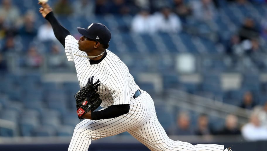 NEW YORK, NY - APRIL 18:  Luis Severino #40 of the New York Yankees delivers a pitch in the first inning against the Chicago White Sox on April 18, 2017 at Yankee Stadium in the Bronx borough of New York City.  (Photo by Elsa/Getty Images)
