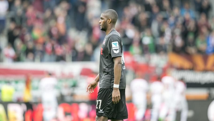 AUGSBURG, GERMANY - APRIL 15: Anthony Modeste of Cologne looks dejected after the Bundesliga match between FC Augsburg and 1. FC Koeln at WWK Arena on April 15, 2017 in Augsburg, Germany. (Photo by Jan Hetfleisch/Bongarts/Getty Images)