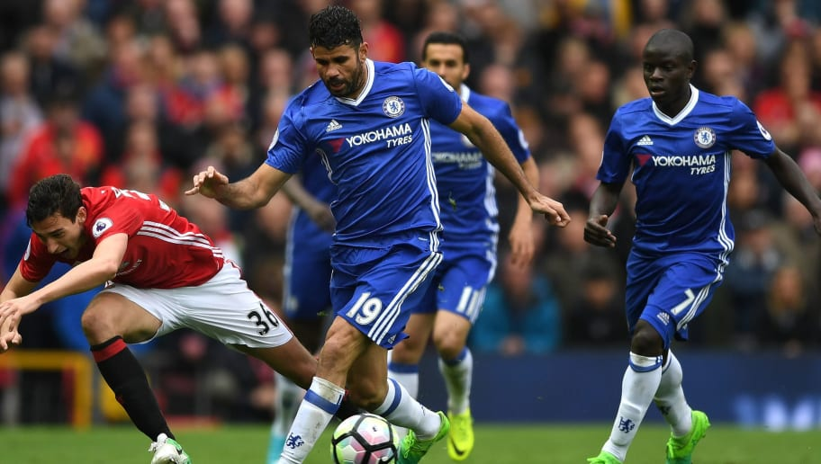 MANCHESTER, ENGLAND - APRIL 16:  Matteo Darmian of Manchester United and Diego Costa of Chelsea battle for possession during the Premier League match between Manchester United and Chelsea at Old Trafford on April 16, 2017 in Manchester, England.  (Photo by Shaun Botterill/Getty Images)