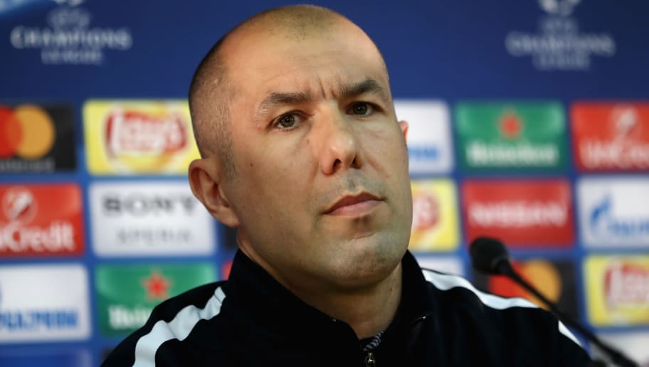 MONACO - APRIL 18: Leonardo Jardim, manager of AS Monaco speaks to the media during the AS Monaco Press Conference at the Stade Louis II on April 18, 2017 in Monaco, Monaco.  (Photo by Alex Grimm/Bongarts/Getty Images)