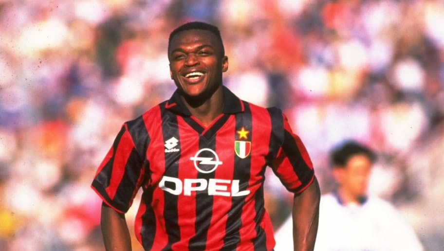 8 Apr 1995:  Marcel Desailly of AC Milan in action during a Serie A match against Parma AC at the Ennio Tardini Stadium in Parma, Italy. \ Mandatory Credit: Allsport UK /Allsport