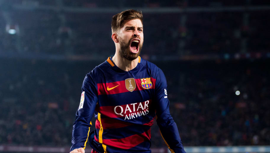 BARCELONA, SPAIN - JANUARY 27: Gerard Pique of FC Barcelona celebrates after scoring his team's second goal during the Copa del Rey Quarter Final Second Leg between FC Barcelona and Athletic Club at Camp Nou stadium on January 27, 2016 in Barcelona, Spain. (Photo by Alex Caparros/Getty Images)