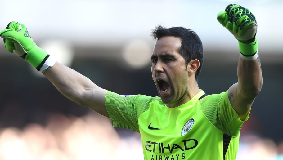 MANCHESTER, ENGLAND - APRIL 08: Claudio Bravo of Manchester City celebrates his sides third goal during the Premier League match between Manchester City and Hull City at Etihad Stadium on April 8, 2017 in Manchester, England.  (Photo by Shaun Botterill/Getty Images)