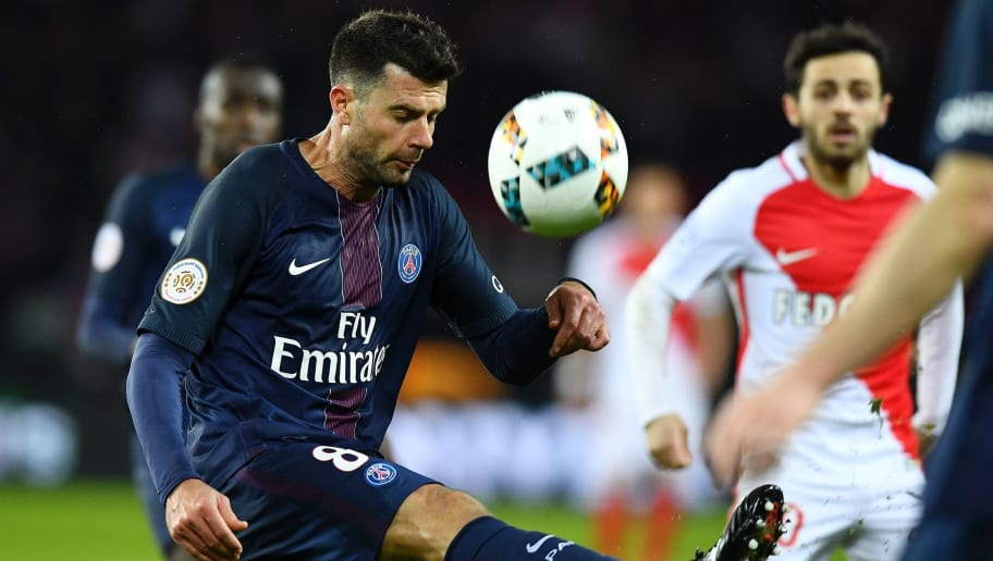 Paris Saint-Germain's Italian midfielder Thiago Motta kicks the ball during the French L1 football match between Paris Saint-Germain and Monaco on January 29, 2017 at the Parc des Princes stadium in Paris. / AFP / FRANCK FIFE        (Photo credit should read FRANCK FIFE/AFP/Getty Images)