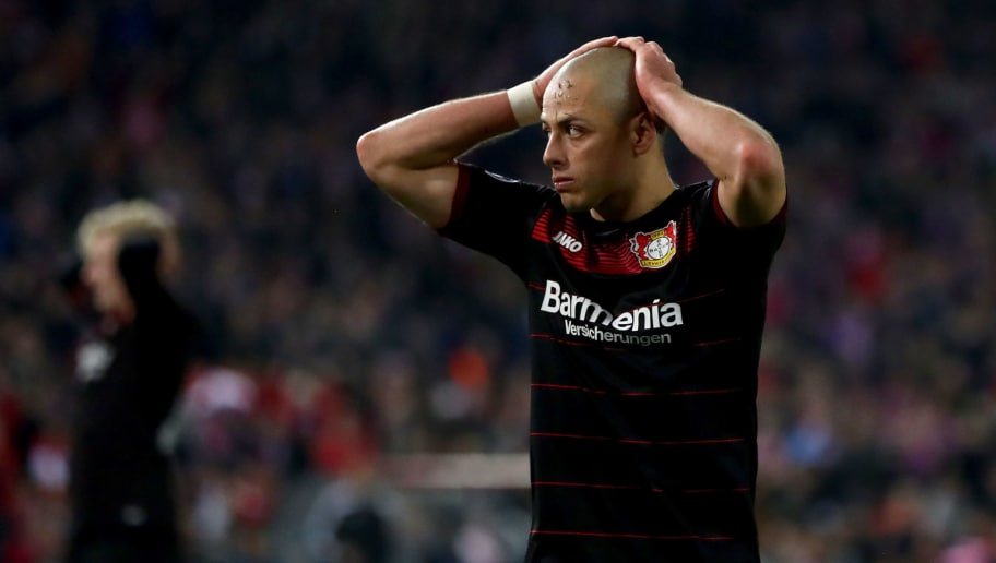 MADRID, SPAIN - MARCH 15: Chicharito of Bayer Leverkusen reacts during the UEFA Champions League Round of 16 second leg match between Club Atletico de Madrid and Bayer Leverkusen at Vicente Calderon Stadium on March 15, 2017 in Madrid, Spain.  (Photo by Lars Baron/Bongarts/Getty Images)