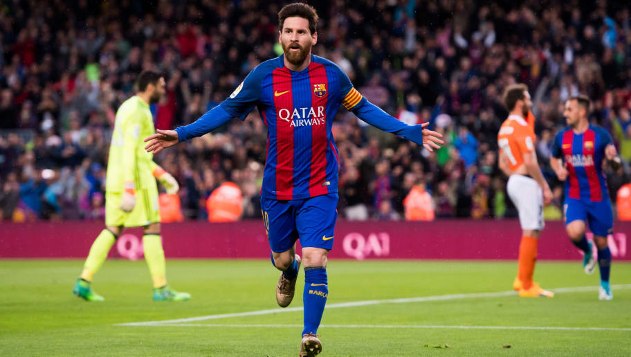 BARCELONA, SPAIN - APRIL 26:  Lionel Messi of FC Barcelona celebrates after scoring the opening goal during the La Liga match between FC Barcelona and CA Osasuna at Camp Nou stadium on April 26, 2017 in Barcelona, Spain.  (Photo by Alex Caparros/Getty Images)