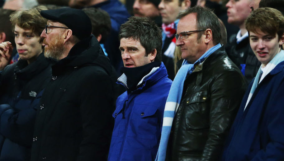 LONDON, ENGLAND - FEBRUARY 28:  Manchester City fan and musician Noel Gallagher (C) looks on during the Capital One Cup Final match between Liverpool and Manchester City at Wembley Stadium on February 28, 2016 in London, England.  (Photo by Michael Steele/Getty Images)