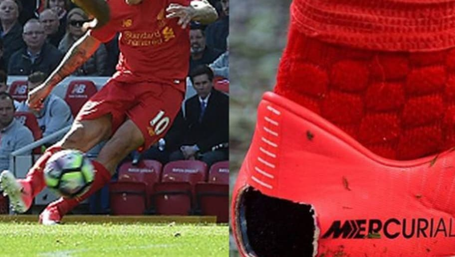 f5f7853bb19 PHOTO  Fashion Trend Alert! Liverpool Star Cuts Big Hole in His Boots for  Reasons Unknown
