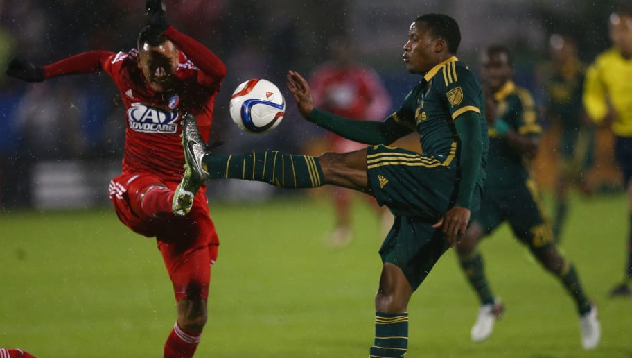 FRISCO, TX - NOVEMBER 29:  Alvas Powell #2 of Portland Timbers dribbles the ball against Blas Perez #7 of FC Dallas during the Western Conference Finals-Leg 2 of the MLS playoffs at Toyota Stadium on November 29, 2015 in Frisco, Texas.  (Photo by Ronald Martinez/Getty Images)