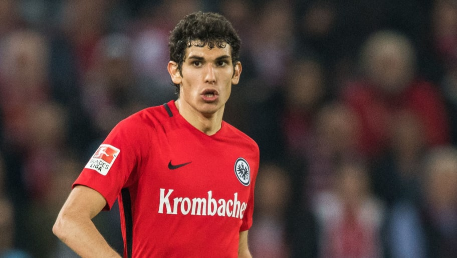 COLOGNE, GERMANY - APRIL 04: Jesus Vallejo of Frankfurt in action during the Bundesliga match between 1. FC Koeln and Eintracht Frankfurt at RheinEnergieStadion on April 4, 2017 in Cologne, Germany. (Photo by Lukas Schulze/Bongarts/Getty Images)