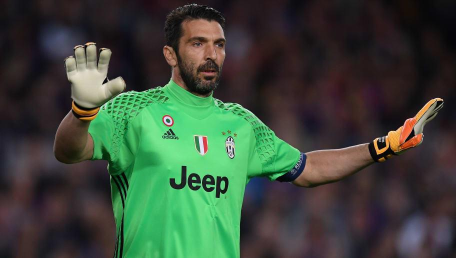 a5f5960251d BARCELONA, SPAIN - APRIL 19: Gianluigi Buffon of Juventus gestures during  the UEFA Champions