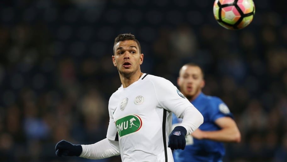 Paris Saint-Germain's French forward Hatem Ben Arfa eyes the ball during the French Cup football match between Avranches (USA) and Paris Saint-Germain (PSG), on April 5, 2017, in Michel D'Ornano Stadium, in Caen, northwestern France.  / AFP PHOTO / CHARLY TRIBALLEAU        (Photo credit should read CHARLY TRIBALLEAU/AFP/Getty Images)