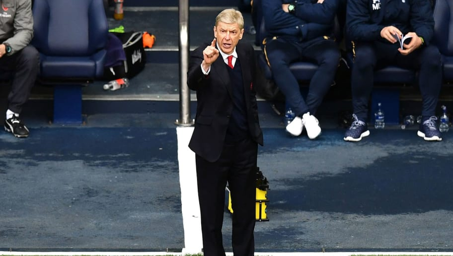 LONDON, ENGLAND - APRIL 30:  Arsene Wenger, Manager of Arsenal gives his team instructions during the Premier League match between Tottenham Hotspur and Arsenal at White Hart Lane on April 30, 2017 in London, England.  (Photo by Dan Mullan/Getty Images)
