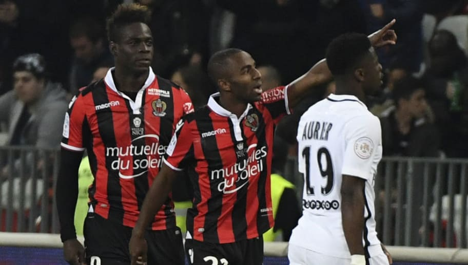 Nice's Portuguese defender Ricardo Pereira (C) celebrates after scoring a goal during the French L1 football match Nice (OGCN) vs Paris Saint Germain (PSG) on April 30, 2017 at the 'Allianz Riviera' stadium in Nice, southeastern France.  / AFP PHOTO / Yann COATSALIOU        (Photo credit should read YANN COATSALIOU/AFP/Getty Images)
