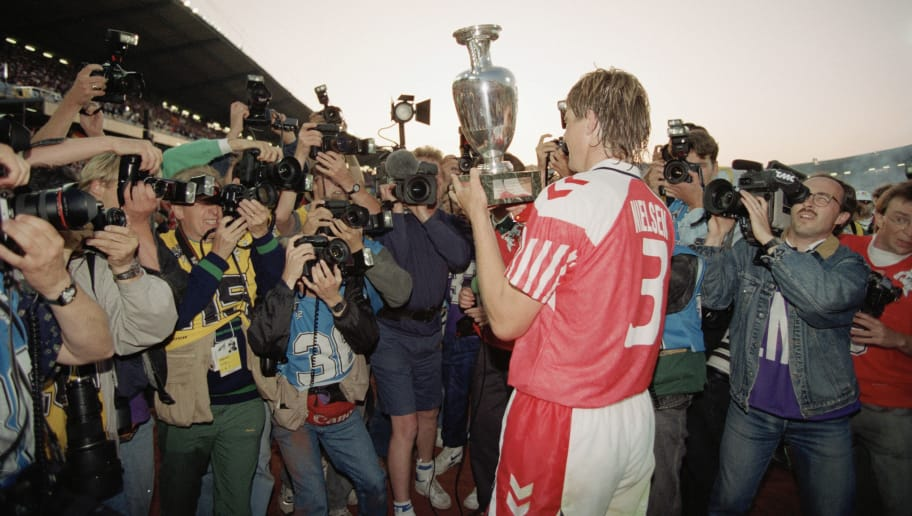 GOTHENBURG, SWEDEN - JUNE 26:  Kent Nielsen of Denmark lifts the trophy after the UEFA European Championships 1992 Final between Denmark and Germany held at the Ullevi Stadium on June 26, 1992 in Gothernburg, Sweden. (Photo by Billy Stickland/Allsport/Getty Images)