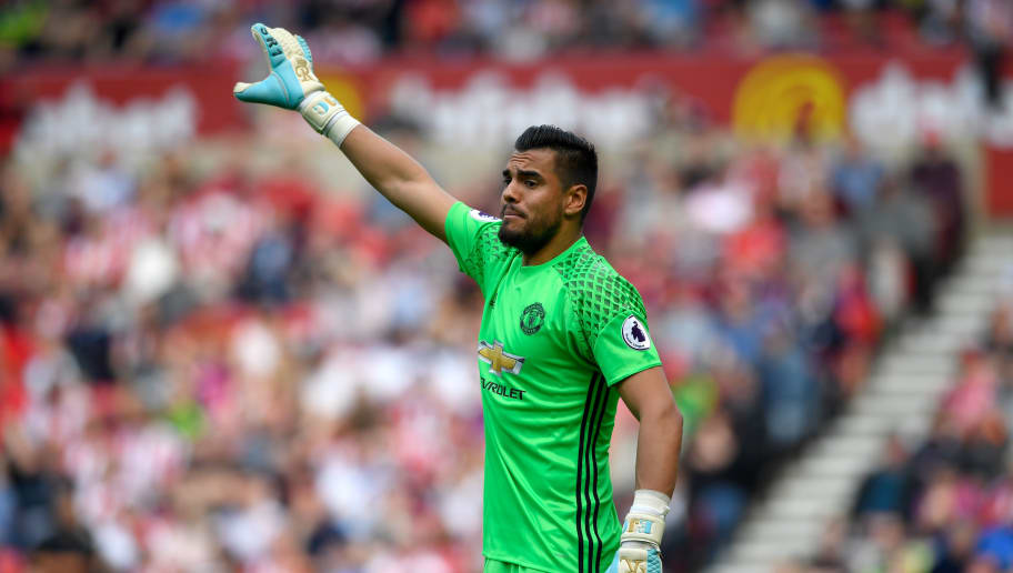 SUNDERLAND, ENGLAND - APRIL 09:  Manchester United goalkeeper Sergio Romero reacts during the Premier League match between Sunderland and Manchester United at Stadium of Light on April 9, 2017 in Sunderland, England.  (Photo by Stu Forster/Getty Images)