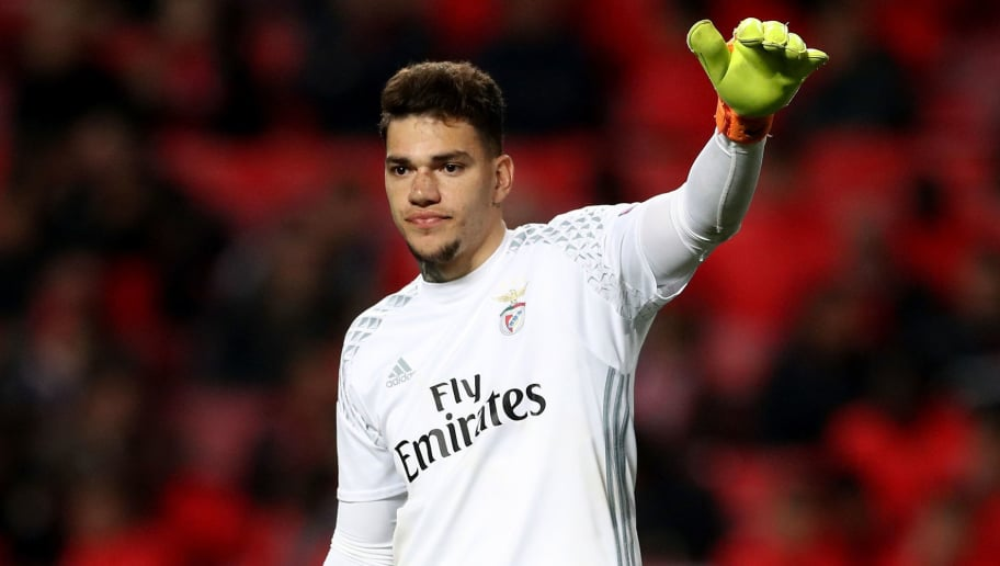 LISBON, PORTUGAL - FEBRUARY 14:  Ederson, goalkeeper of Benfica gestures during the UEFA Champions League Round of 16 first leg match between  SL Benfica and Borussia Dortmund at Estadio da Luz on February 14, 2017 in Lisbon, Portugal.  (Photo by Lars Baron/Bongarts/Getty Images)