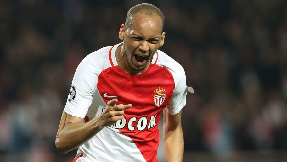 Monaco's Brazilian defender Fabinho celebrates after scoring a goal during the UEFA Champions League round of 16 football match between Monaco and Manchester City at the Stade Louis II in Monaco on March 15, 2017. / AFP PHOTO / Valery HACHE        (Photo credit should read VALERY HACHE/AFP/Getty Images)