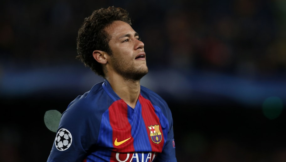 Barcelona's Brazilian forward Neymar reacts to their disqualification by Juventus at the end of the UEFA Champions League quarter-final second leg football match FC Barcelona vs Juventus at the Camp Nou stadium in Barcelona on April 19, 2017. The game ended with a draw and Juventus is qualified for the semis. / AFP PHOTO / PAU BARRENA        (Photo credit should read PAU BARRENA/AFP/Getty Images)