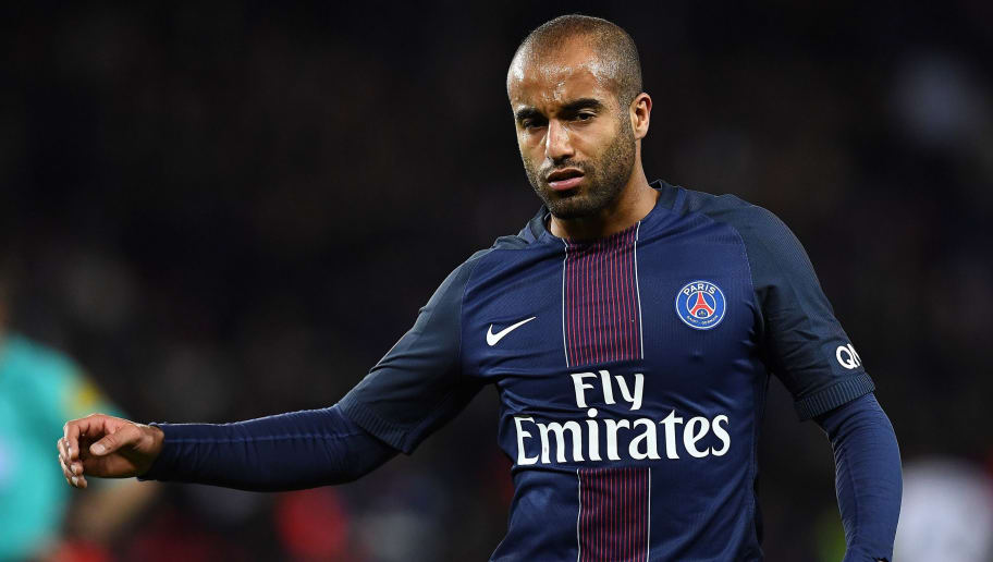 Paris Saint-Germain's Brazilian midfielder Lucas Moura is pictured during  the French L1 football match between Paris Saint-Germain and Olympique Lyonnais at the Parc des Princes stadium in Paris on March 19, 2017.  / AFP PHOTO / FRANCK FIFE        (Photo credit should read FRANCK FIFE/AFP/Getty Images)