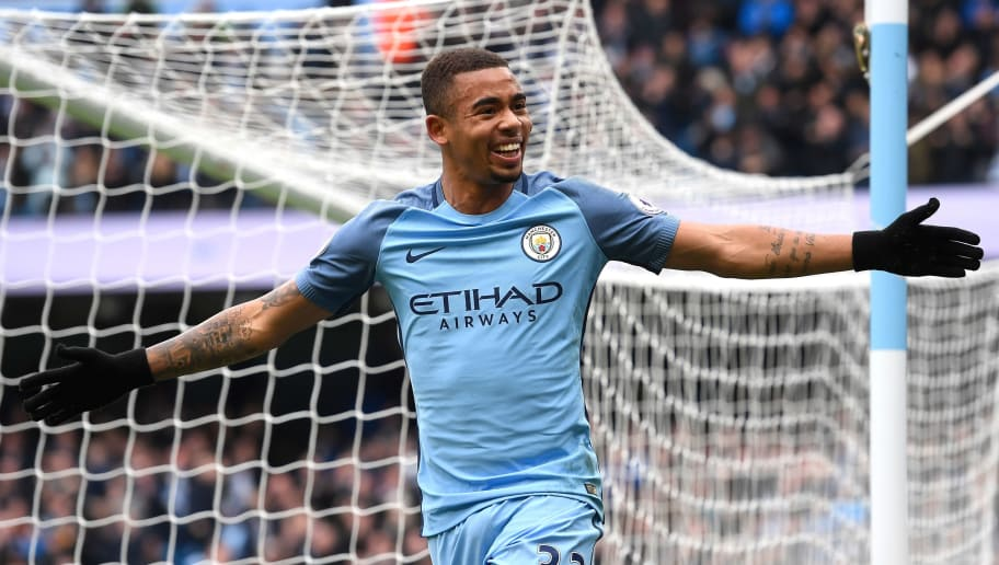 MANCHESTER, ENGLAND - FEBRUARY 05: Gabriel Jesus of Manchester City celebrates scoring his sides first goal  during the Premier League match between Manchester City and Swansea City at Etihad Stadium on February 5, 2017 in Manchester, England.  (Photo by Stu Forster/Getty Images)