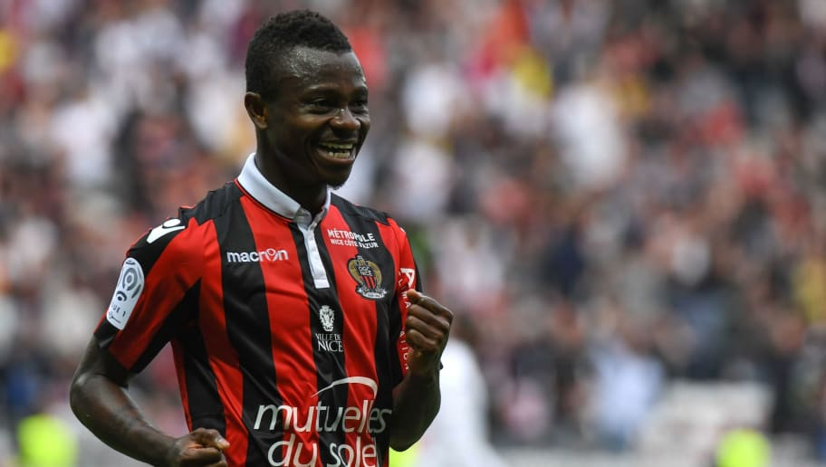 Nice's Ivorian midfielder Jean Michael Seri celebrates after scoring a goal during the French L1 Football match between OGC Nice and AS Nancy Lorraine at the Allianz Riviera Stadium, in Nice, on April 15, 2017. / AFP PHOTO / Yann COATSALIOU        (Photo credit should read YANN COATSALIOU/AFP/Getty Images)