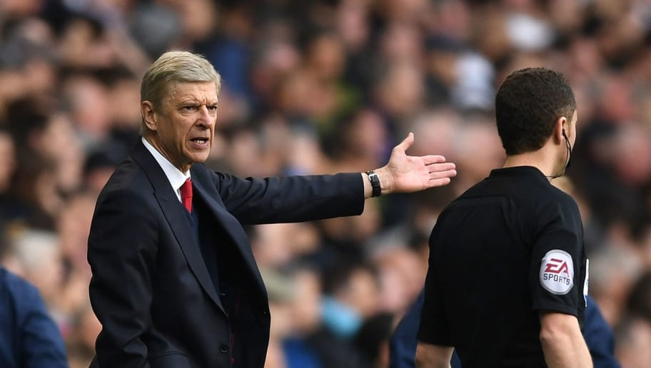 LONDON, ENGLAND - APRIL 30:  Arsene Wenger, Manager of Arsenal reacts during the Premier League match between Tottenham Hotspur and Arsenal at White Hart Lane on April 30, 2017 in London, England.  (Photo by Shaun Botterill/Getty Images)