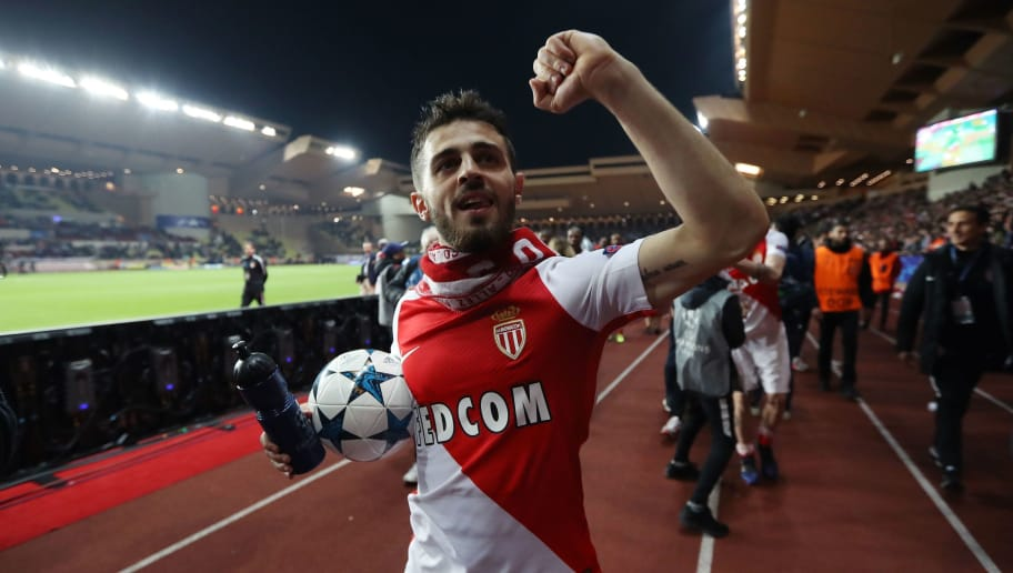 Monaco's Portuguese midfielder Bernardo Silva celebrates at the end of the UEFA Champions League round of 16 football match between Monaco and Manchester City at the Stade Louis II in Monaco on March 15, 2017. / AFP PHOTO / Valery HACHE        (Photo credit should read VALERY HACHE/AFP/Getty Images)