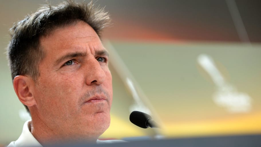 Celta Vigo's Argentinian coach Eduardo Berizzo gives a press conference at the Balaidos stadium in Vigo, on May 3, 2017, on the eve of the UEFA Europa League semi-final football match against Manchester United. / AFP PHOTO / MIGUEL RIOPA        (Photo credit should read MIGUEL RIOPA/AFP/Getty Images)