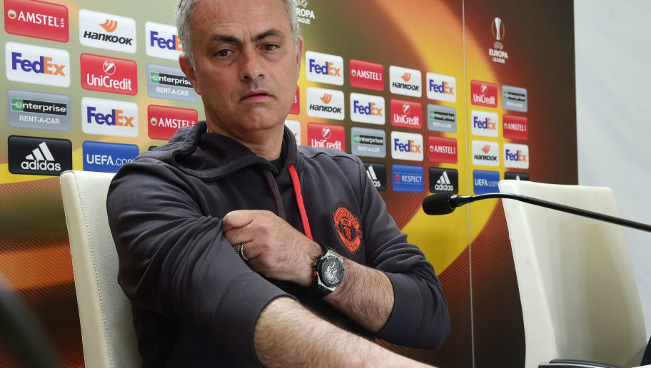 Manchester United's Portuguese coach Jose Mourinho arrives for a press conference at Balaidos stadium in Vigo, on May 3, 2017, on the eve of the UEFA Europa League semi-final football match against Celta de Vigo. / AFP PHOTO / MIGUEL RIOPA        (Photo credit should read MIGUEL RIOPA/AFP/Getty Images)