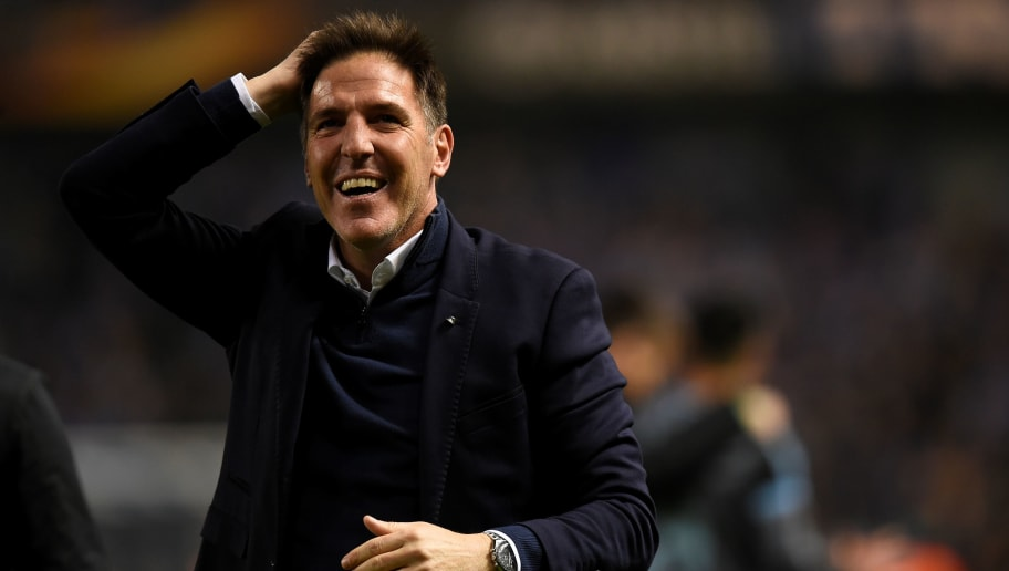 Celta Vigo's headcoach Eduardo Berizzo Magnolo celebrates at the end of the UEFA Europa League quarter final second leg football match KRC Genk against Celta Vigo at the Fenix Stadium in Genk on April 20, 2017.   / AFP PHOTO / JOHN THYS        (Photo credit should read JOHN THYS/AFP/Getty Images)
