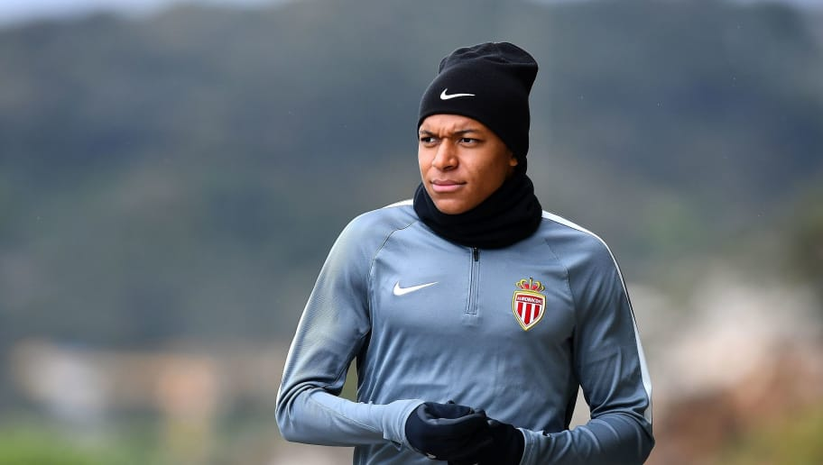 Monaco's French forward Kylian Mbappe arrives for a training session on May 2, 2017 in La Turbie, near Monaco, on the eve of their UEFA Champions League semi-final first leg football match against Juventus. / AFP PHOTO / FRANCK FIFE        (Photo credit should read FRANCK FIFE/AFP/Getty Images)