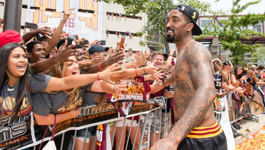 CLEVELAND, OH -  JUNE 22: J.R. Smith #5 of the Cleveland Cavaliers celebrates with the fans during the Cleveland Cavaliers 2016 championship victory parade and rally on June 22, 2016 in Cleveland, Ohio. (Photo by Jason Miller/Getty Images)