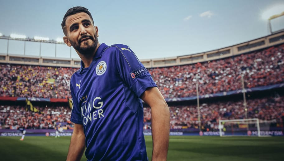 MADRID, SPAIN - APRIL 12:  [EDITORS NOTE: THIS IMAGE WAS PROCESSED USING DIGITAL FILTERS] Riyad Mahrez looks on during the UEFA Champions League Quarter Final first leg match between Club Atletico de Madrid and Leicester City at Vicente Calderon Stadium on April 12, 2017 in Madrid, Spain.  (Photo by Michael Regan/Getty Images)