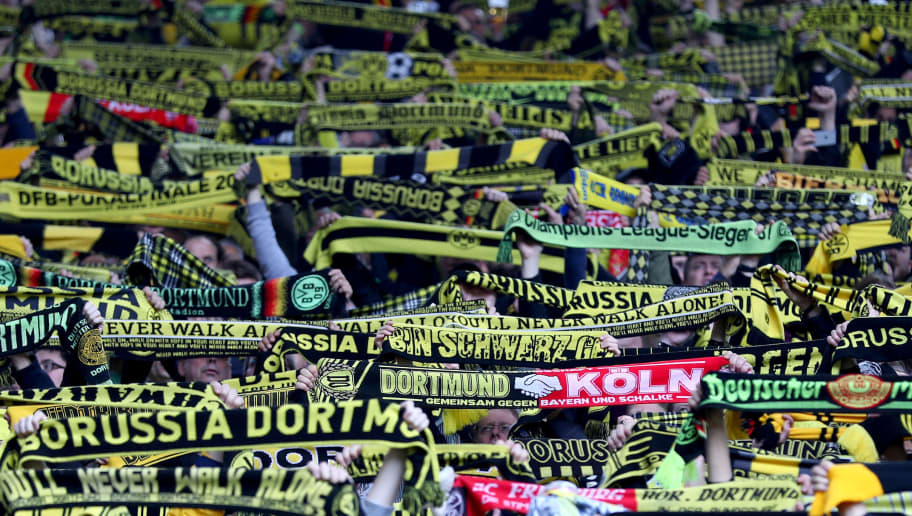 DORTMUND, GERMANY - APRIL 29:  Fans of Dortmund are seen during the Bundesliga match between Borussia Dortmund and 1. FC Koeln at Signal Iduna Park on April 29, 2017 in Dortmund, Germany.  (Photo by Lars Baron/Bongarts/Getty Images)
