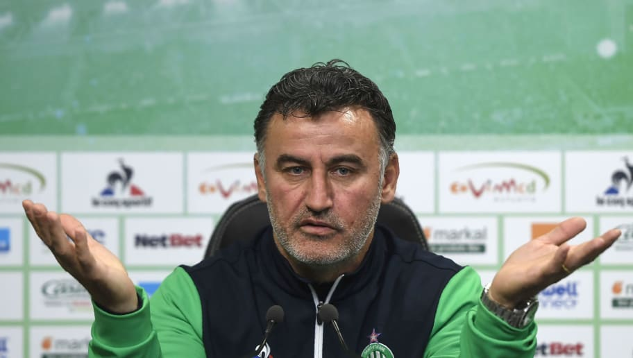 Saint-Etienne's French head coach Christophe Galtier gives a press conference, on May 3, 2017, at the Saint-Etienne's training centre in L'Etrat near Saint-Etienne, central France.   / AFP PHOTO / PHILIPPE DESMAZES        (Photo credit should read PHILIPPE DESMAZES/AFP/Getty Images)