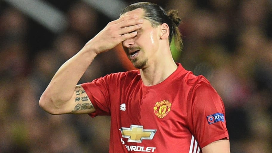 Manchester United's Swedish striker Zlatan Ibrahimovic reacts during the UEFA Europa League quarter-final second leg football match between Manchester United and Anderlecht at Old Trafford in Manchester, north west England, on April 20, 2017. / AFP PHOTO / Oli SCARFF        (Photo credit should read OLI SCARFF/AFP/Getty Images)