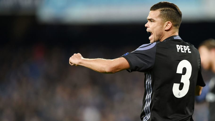 NAPLES, ITALY - MARCH 07:  Pepe of Real Madrid CF  during the UEFA Champions League Round of 16 second leg match between SSC Napoli and Real Madrid CF at Stadio San Paolo on March 7, 2017 in Naples, Italy.  (Photo by Francesco Pecoraro/Getty Images)