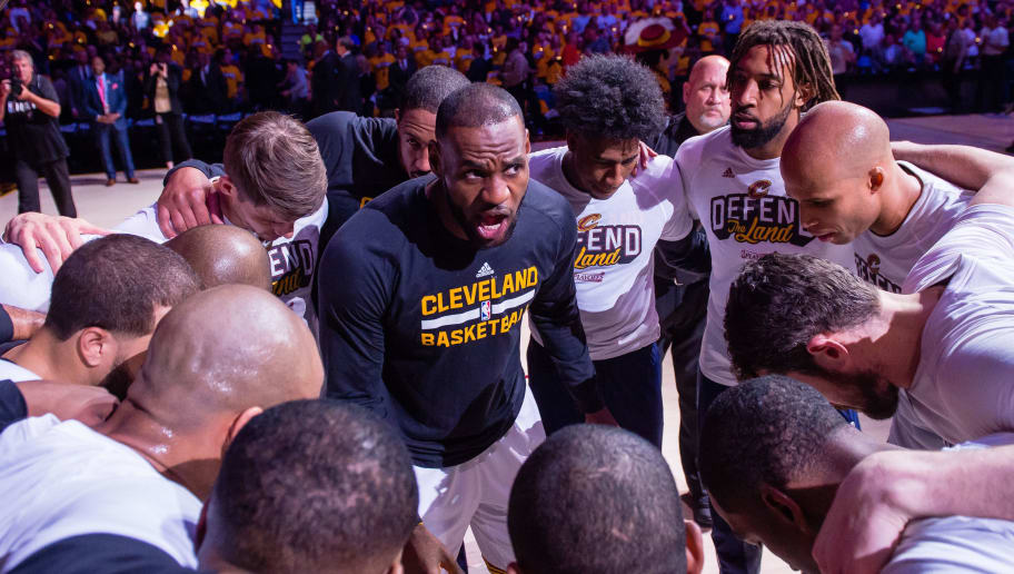 CLEVELAND, OH - MAY 1: LeBron James #23 of the Cleveland Cavaliers leads his teammates in the huddle prior to Game One of the NBA Eastern Conference semifinals against the Toronto Raptors at Quicken Loans Arena on May 1, 2017 in Cleveland, Ohio. NOTE TO USER: User expressly acknowledges and agrees that, by downloading and or using this photograph, User is consenting to the terms and conditions of the Getty Images License Agreement. (Photo by Jason Miller/Getty Images)