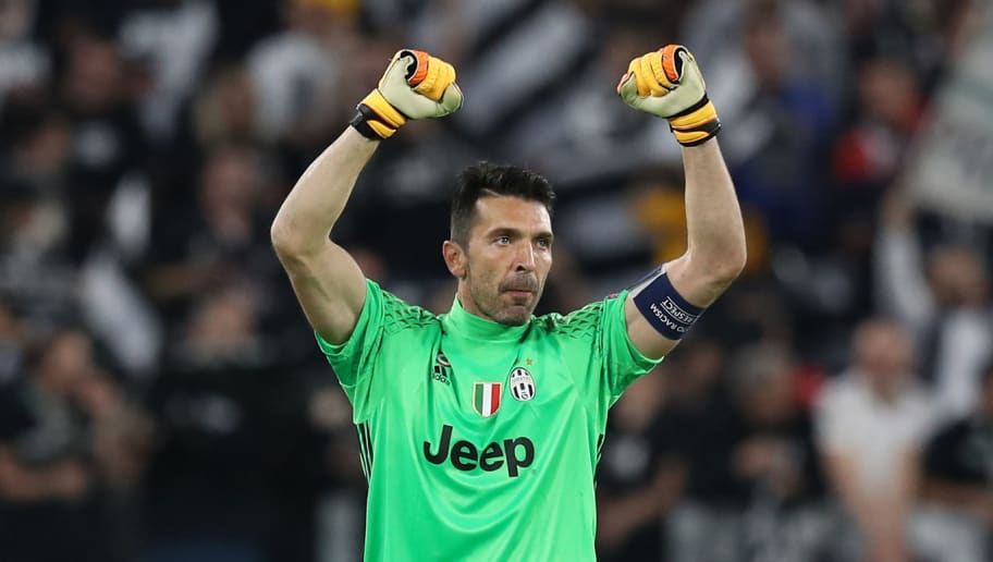 Juventus' goalkeeper from Italy Gianluigi Buffon celebrates after winning the UEFA Champions League semi final second leg football match Juventus vs Monaco, on May 9, 2017 at the Juventus stadium in Turin. / AFP PHOTO / Valery HACHE        (Photo credit should read VALERY HACHE/AFP/Getty Images)