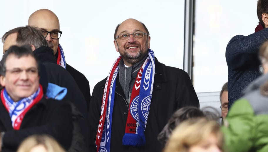 KIEL, GERMANY - FEBRUARY 18:  Martin Schulz the chancellor candidate of the German Social Democrats (SPD) looks on as he visits the 3 liga match between Holstein Kiel and  Fortuna Koeln at Holstein-Stadion on February 18, 2017 in Kiel, Germany.  (Photo by Oliver Hardt/Bongarts/Getty Images)