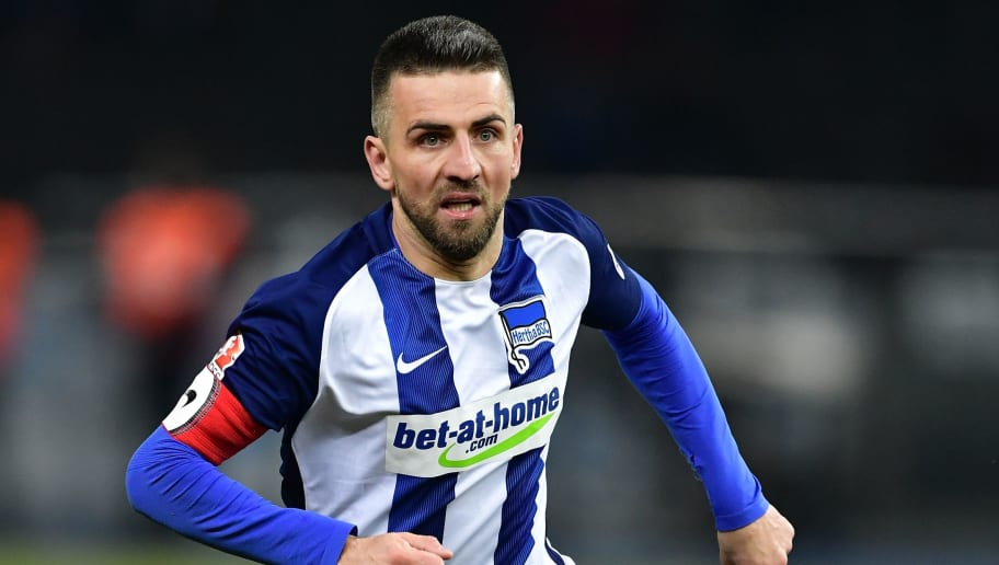 BERLIN, GERMANY - FEBRUARY 25:  Vedad Ibisevic of Berlin in action during the Bundesliga match between Hertha BSC and Eintracht Frankfurt at Olympiastadion on February 25, 2017 in Berlin, Germany.  (Photo by Stuart Franklin/Bongarts/Getty Images)