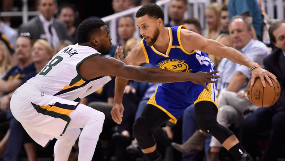 SALT LAKE CITY, UT - MAY 6: Shelvin Mack #8 of the Utah Jazz defends against Stephen Curry #30 of the Golden State Warriors in the first half in Game Three of the Western Conference Semifinals during the 2017 NBA Playoffs at Vivint Smart Home Arena on May 6, 2017 in Salt Lake City, Utah. NOTE TO USER: User expressly acknowledges and agrees that, by downloading and or using this photograph, User is consenting to the terms and conditions of the Getty Images License Agreement. (Photo by Gene Sweeney Jr/Getty Images)