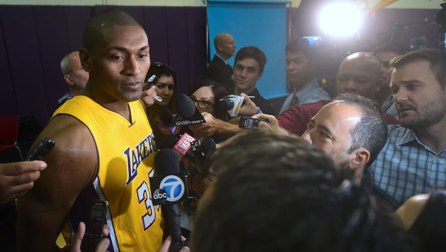 Metta World Peace of the 2016 Los Angeles Lakers sits to face the press during media day on September 26, 2016 in El Segundo, California ahead of the start of the 2016-17 NBA season.  / AFP / Frederic J. BROWN        (Photo credit should read FREDERIC J. BROWN/AFP/Getty Images)