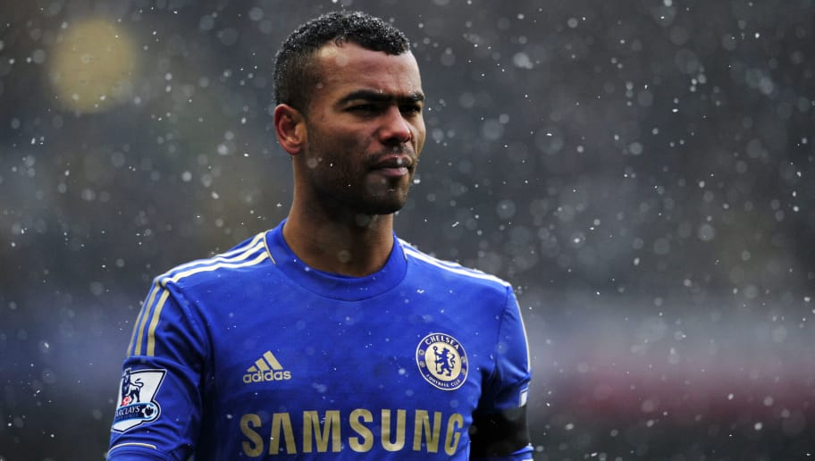 "Chelsea's English defender Ashley Cole plays during their English Premier League football match against Arsenal at Stamford Bridge in London, England on January 20, 2013. AFP PHOTO/GLYN KIRK                                                                                                                 RESTRICTED TO EDITORIAL USE. No use with unauthorized audio, video, data, fixture lists, club/league logos or ""live"" services. Online in-match use limited to 45 images, no video emulation. No use in betting, games or single club/league/player publications.        (Photo credit should read GLYN KIRK/AFP/Getty Images)"