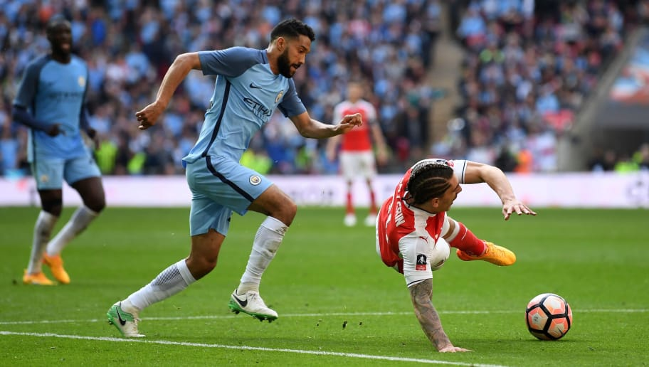 LONDON, ENGLAND - APRIL 23: Hector Bellerin of Arsenal and Gael Clichy of Manchester City compete for the ball during the Emirates FA Cup Semi-Final match between Arsenal and Manchester City at Wembley Stadium on April 23, 2017 in London, England.  (Photo by Mike Hewitt/Getty Images,)