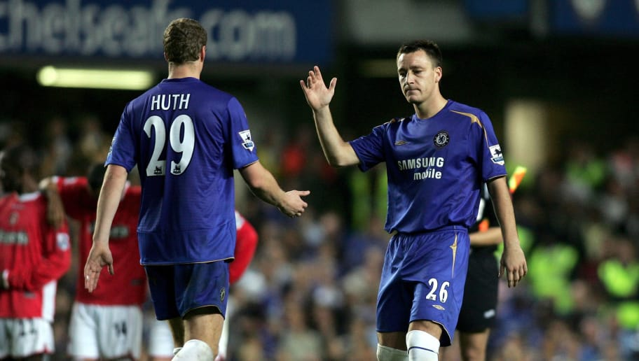 LONDON - OCTOBER 26:  Robert Huth of Chelsea is consoled by John Terry after missing his penalty during the Carling Cup Third Round match between Chelsea and Charlton Athletic at Stamford Bridge on October 26, 2005 in London, England.   (Photo by Ben Radford/Getty Images)